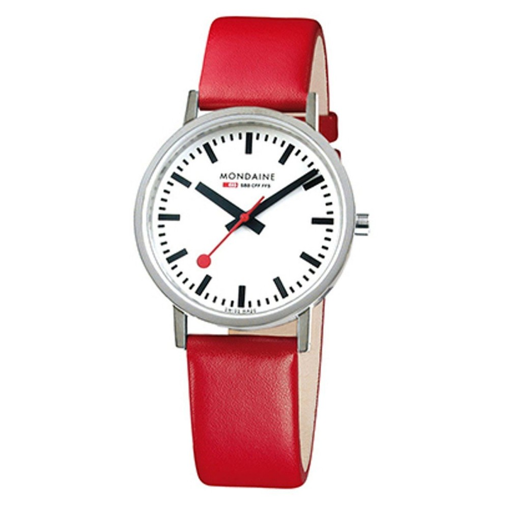 CLASSIC 36MM GENTS POLISHED,  red strap