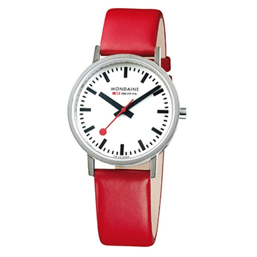 CLASSIC 36MM  BRUSHED, Red strap
